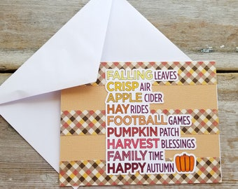 Autumn Greeting Card - Happy Autumn - Harvest Cards - Autumn Cards - Fall Greetings - Handmade Greeting Card - Thanksgiving Cards - Pumpkin