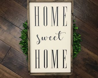Home Sweet Home Sign | Wood Sign | Farmhouse Style | Farmhouse Decor | Farmhouse Sign | Home Sign | Entryway Sign | Lets Stay Home | Fixer U