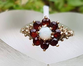 Opal & Garnet Flower Cluster 9ct Gold Ring