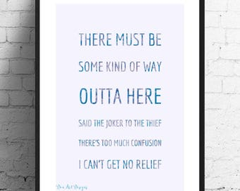 Bob Dylan/ Jimi Hendrix - All Along The Watchtower Lyrics Print