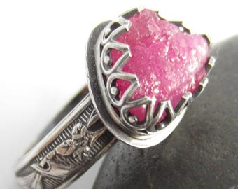 Ruby in the Rough Ring - Size 6.5 in Sterling Silver