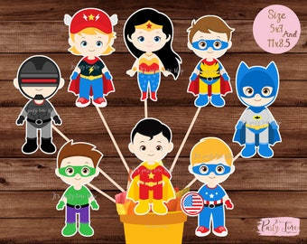 Superhero Centerpiece, Superhero Table Centerpiece, Superhero Cake Topper, Superhero decoration, Superhero Wall Decor - Instant Download