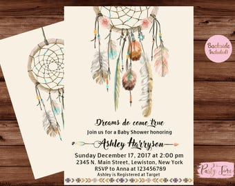 Dreamcatcher Baby Shower Invitation - Baby Shower Invitation - Boho Baby Shower Invitation - Dreamcatcher Invitation - Dream Catcher