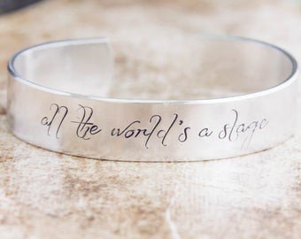 All The World's A Stage / Shakespeare Gift / Shakespeare Jewelry / Theater Jewelry / Theater Gift / Literary Jewelry / Literary Gift