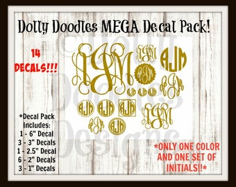 MEGA Monogram Decal Pack - Vinyl Decal - Initials - Personalized - Customized