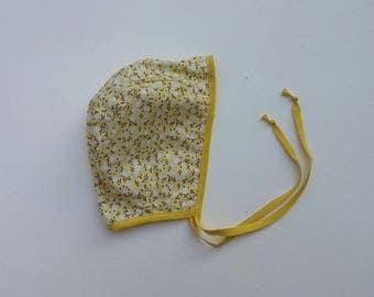 Floral cotton baby bonnet 0-3months
