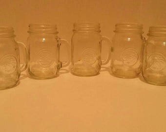 7 Golden Harvest Pint Mason Jars 16oz with Handle