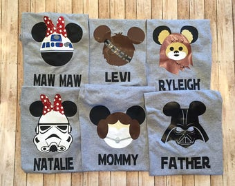 Disney Shirt- Star Wars Shirt -One FREE Name- YoU cHOOSE the CHARACTER Kids and Adult sizes