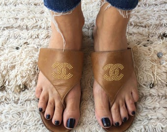 Vintage CHANEL Huge BEADED CC Studded Logo Black Tan 80's Flip Flop Sandals Heels eu 39  us 8 - 8.5