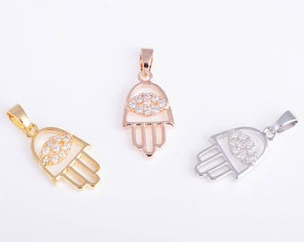 Micro pave zirconia Evil Eye Hamsa Hand/Hamesh Hand pendant/charm/necklace/findings