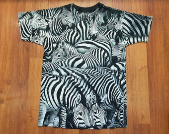 Vintage Zebra Shirt, Radical Nature Shirt, 90s All Over Print Shirt, Size M
