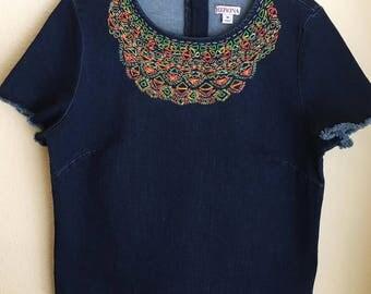 Neon Geometric Embroidered Shirt