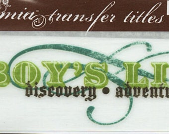 A Boy's Life Title Rub On Transfer Embellishments Cardmaking Crafts My Mind's Eye Bohemia