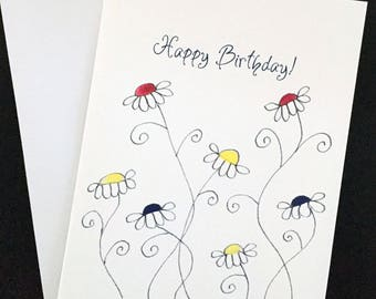 """Happy Birthday card, watercolor and ink, hand drawn daisies, 5""""x7"""" card, bright colors"""