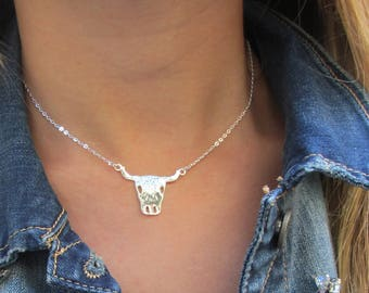 Taurus necklace, Zodiac necklace, Bull necklace, animal necklace, ranch necklace, gift for her, layered necklace, taurus jewelry