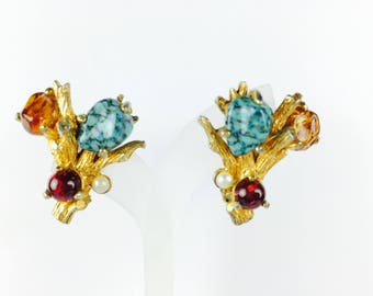 Vintage Earrings-turquoise-amber-red-glass-cabochon-glitter-bead-twig-1960s-Mad Men-Gift