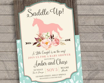 Saddle Up Baby Shower Invitations , floral, boho, pink, horse, western, rocking horse, printable file or printed and shipped