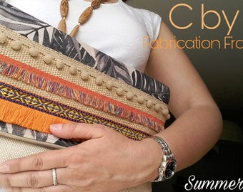Handbag Boho Orange/white - print and natural cotton canvas