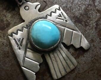 Fred Harvey Style Thunderbird Pendant with Sleeping Beauty Turquoise