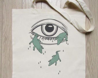 """TOTE BAG """"French phrases crocodile tears / PALMillustrations"""""""