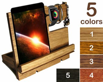 iPad stand wood Docking station men wood iPad holder men wood Desk organizer men wood Charging station men Phone dock men iPhone holder wood