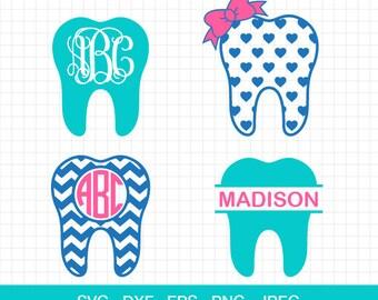 Dentist Svg, Teeth Svg, Dentist Tooth Svg, Dentist Monogram Frames Svg, Svg Files, Cut Files for CriCut & Silhouette
