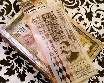 Tim Holtz Stampers Anonymous Mixed Media Coordinating Stamp/Stencil Set ~Vintage Photograph~