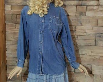 Calvin Klein vintage jeans shirt size small, denim shirt for men