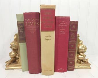 Red Vintage Decorative Book Set