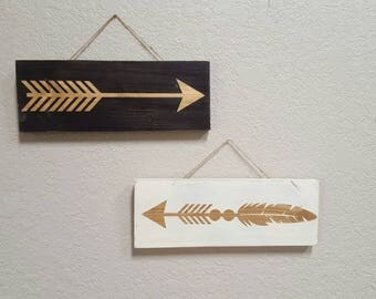 Gold arrows on either black or white background.  Home decor, wooden arrow decor, arrow sign, gold decor, hanging arrow sign, wall decor