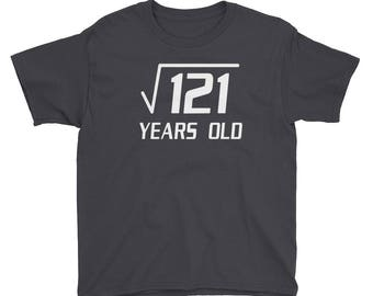 Funny Math - Square Root of 121 11 years b-day bday geek geeky nerd nerdy gift T-Shirt Youth Short Sleeve T-Shirt