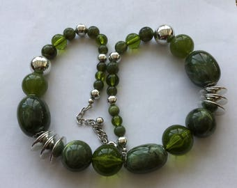 Marbled Green And Silver Lucite Bead Necklace