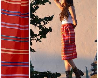 80s Fiesta Striped Pencil Skirt, LeSport Highwaisted Mexican Blanket Inspired Skirt, Sz S