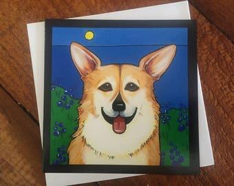 Corgi pet greeting card, art, painting, dog, puppy, sympathy, birthday, memorial, breed