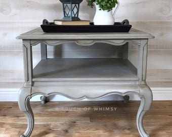 SOLD***  French Provincial Grey Two Tiered End Table