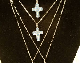 Real Flower Cross Necklace Jewelry