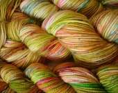 READY To SHIP, 50G Fing,and DK Sparkle Ready to Ship, Sprinkle Splatter, Hand Dyed, Colorway - Easter Eggs in the Grass