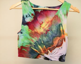 Ladies Size M/12 Crop Top - V Neck Front - Beach - Festival - Ready To Ship - Tie Dyed - 100% Cotton - FREE Shipping within Aus