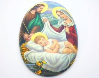 Virgin Mary Joseph and Baby Jesus Oval Wall Hanging Spiritual Protection Mother and Child Vintage Religious Gift Christian Baptism Christ