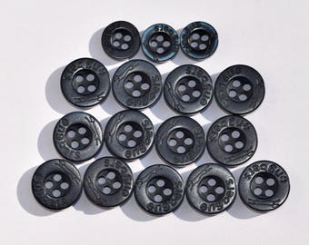 Set of 16 pcs Engbers plastic buttons 13 big and 3 small // Set of 17 pcs Canda plastic buttons 12 big and 5 small