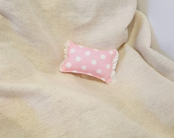 American Girl 18 inch Doll Bedding Pink and White Polka Dot Toss Pillow