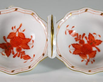 "Herend Hvngary ""Chinese Bouquet"" Fall Leaves Dish 