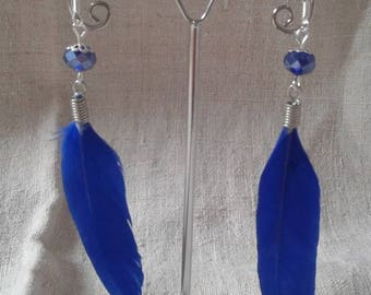 """dark blue feather"" earrings"