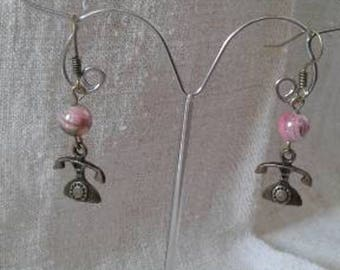 """""""telephone antique and Pearl"""" earrings"""
