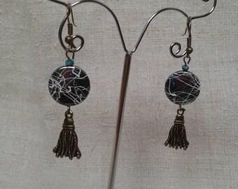 Pearl and bronze tassel earrings