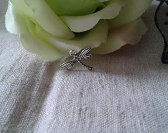 set of 10 silver Dragonfly charms