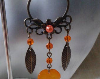 orange leaf and Flower Earrings
