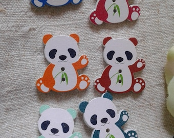 "set of 10 ""pandas"" multicolored buttons, wooden"