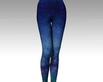 Starlight Pants - Women's Yoga Leggings - Eco Friendly - Space - Starseed Galaxy Festival Stars