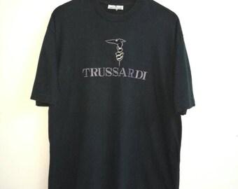 Rare Vintage TRUSSARDI T-shirt Large Size Black Colour Embroidered Logo